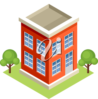 Image isometric apartment house, standing on the grass. Vector illustration