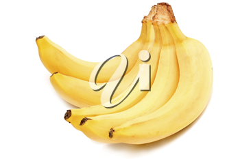 Photo of a sheaf of bananas on a white background