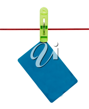 Plastic card on a rope on a white background