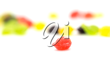 colored candy on a white background. macro