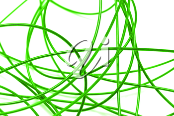 green cable on a white background