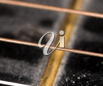Detail of a guitar string as a background. macro