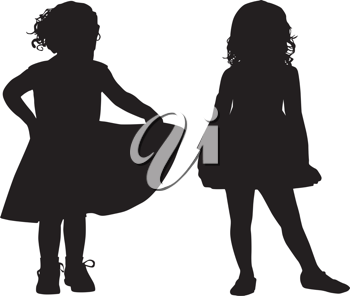 Royalty Free Clipart Image of Two Small Girls in Silhouette