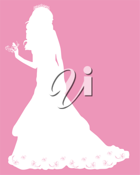 Royalty Free Clipart Image of a Silhouetted Bride on a Pink Background