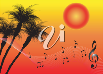 Royalty Free Clipart Image of a Sunset Background With a Treble Clef and Notes
