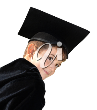 Little boy with academic hat on a white background