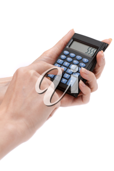 Royalty Free Photo of a Person Holding a Calculator