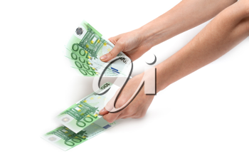 Royalty Free Photo of a Person Holding Euro Banknotes