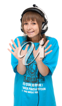 Royalty Free Photo of a Girl Wearing Headphones