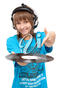 Royalty Free Photo of a Girl Holding a Record