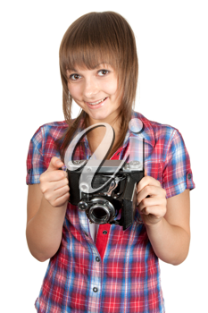 Royalty Free Photo of a Woman Holding a Camera