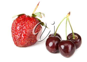 Royalty Free Photo of a Strawberry and Cherries