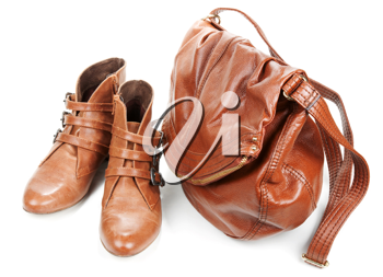 Royalty Free Photo of a Pair of Leather Shoes and Purse