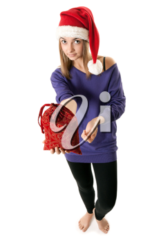 Royalty Free Photo of a Young Girl in a Santa Hat