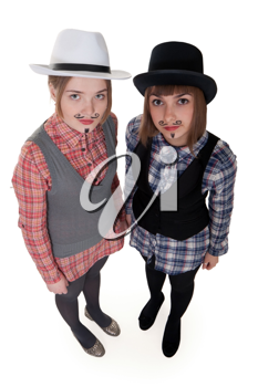 Royalty Free Photo of Two Girls With Drawn on Mustaches