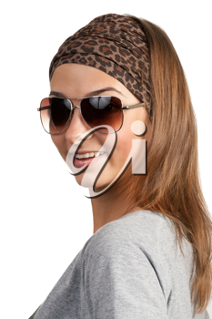 Royalty Free Photo of a Young Woman Wearing Sunglasses