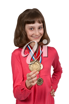 Royalty Free Photo of a Girl With Medals