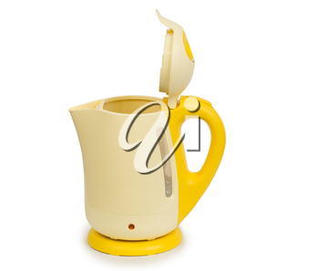 Open electric yellow tea kettle isolated on white background