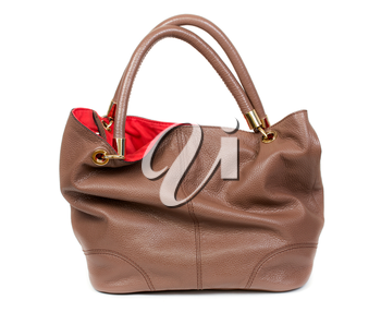 Nice and beautiful lady brown lady leather handbag isolated on white
