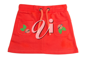 Children's red skirt with a print ladybug. Isolate on white.