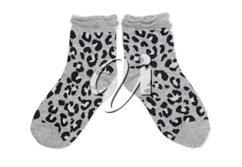 Pair of gray socks with black pattern. Isolate on white.