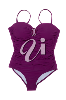 Purple swimsuit with a brooch. Isolate on white background.