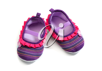 Baby footwear isolated white background.