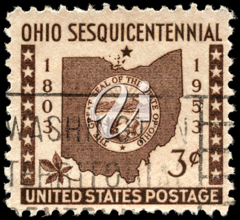 Royalty Free Photo of 1953 US Stamp Shows the Map and Ohio State Seal
