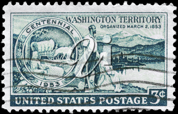 Royalty Free Photo of 1953 Us Stamp for Centenary of the Organization of Washington Territory