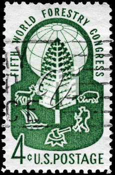 Royalty Free Photo of 1960 US Stamp Devoted to 5th World Forestry Congress