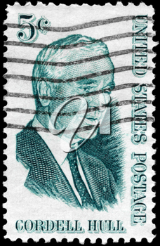Royalty Free Photo of 1963 US Stamp Shows the Portrait of a Cordell Hull (1871-1955), Secretary of State