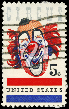 Royalty Free Photo of 1966 US Stamp Shows the Clown, American Circus
