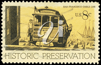 Royalty Free Photo of 1971 US Stamp Shows the Cable Car, San Francisco, Historic Preservation