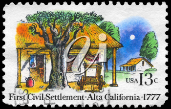 Royalty Free Photo of 1977 US Stamp Shows the Farm Houses, 1st Civil Settlement in Alta California, 200th Anniversary