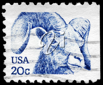 Royalty Free Photo of 1982 US Stamp With the Head of a Bighorn