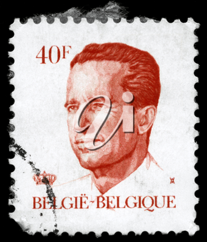 BELGIUM - CIRCA 1984: A Stamp printed in BELGIUM shows the portrait of a Baudouin I (1930-1993) reigned as King of the Belgians, series, circa 1984