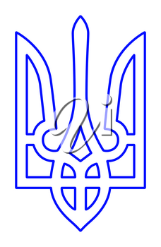 Illustration of the contour coat of arms of Ukraine
