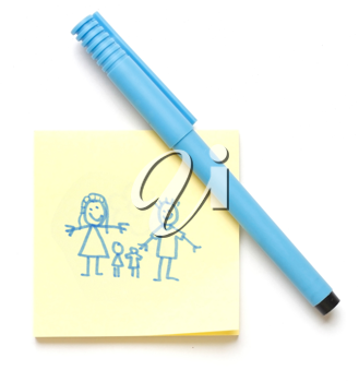 Royalty Free Photo of a Family Drawn on a Note