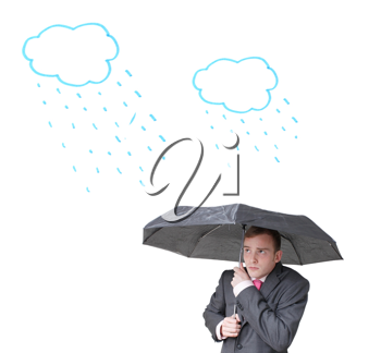 Royalty Free Photo of a Man Holding an Umbrella