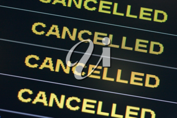 Royalty Free Photo of a List of Cancelled Flights