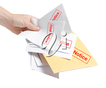 Royalty Free Photo of a Person Holding Final Notice Bills
