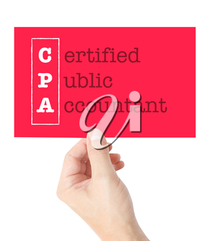 Certified Public Accountant explained on a card held by a hand