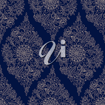 Vector Seamless Floral Maroccan Ethnic Pattern on Blue