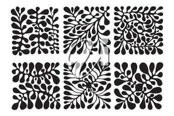 Vector 6 Floral Patterns. Hand drawn by ink and brush. Japanese style