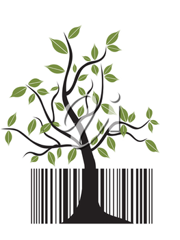 Royalty Free Clipart Image of a Bar Code With a Tree