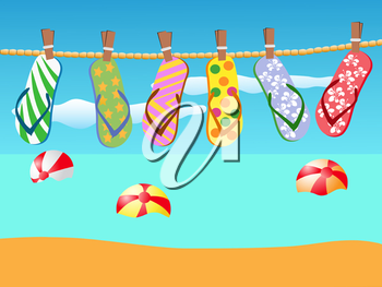 Royalty Free Clipart Image of Flip Flops on a Rope