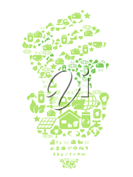 Royalty Free Clipart Image of a Light Bulb With Nature Icons