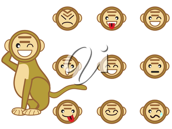 Royalty Free Clipart Image of Monkey Faces