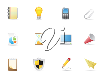 Royalty Free Clipart Image of Office and Business Icons