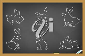 Royalty Free Clipart Image of Rabbits on a Chalkboard